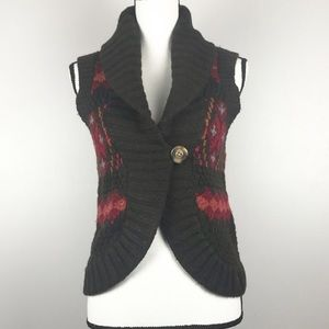 Abercrombie & Fitch Brown Patterned Sweater Vest